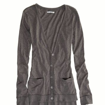 AE Lightweight Boyfriend Cardigan, Dark Heather Grey | American Eagle Outfitters