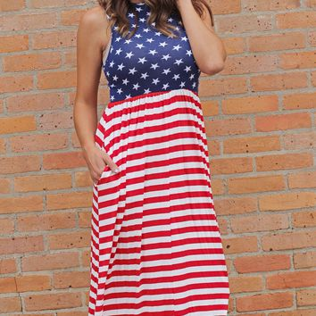 Red White & Beautiful Maxi Dress