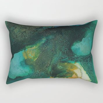 Green and Gold Rectangular Pillow by duckyb