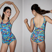 Vintage 60s One Piece Bathing Suit / Ditzy Floral Print / High Cut Chest / PIN UP Square Leg / Royal Blue / Small