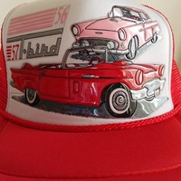Ford T-Bird, 56 & 57 in 3-D Graphics on a new Red mesh w/white trim ball cap