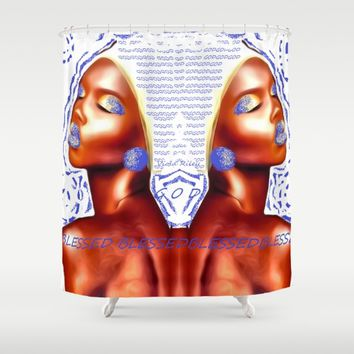 HIGHLY FAVORED Shower Curtain by violajohnsonriley