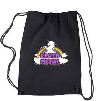 Death Metal Unicorn Rainbow Drawstring Backpack