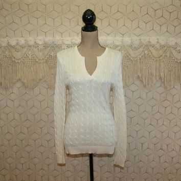 Cable Knit Sweater V Neck Pullover Cotton Ivory Cream Off White Womens Sweaters Rayon