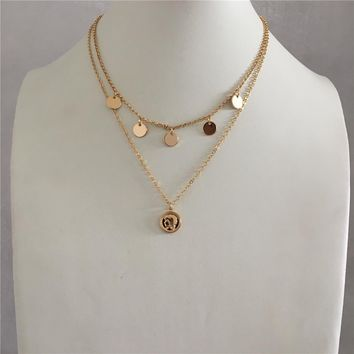 LOVELY GOLD COLOR ROUND DISC COIN LAYERED PENDANT NECKLACE FOR WOMAN GIRL