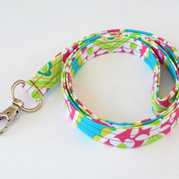 Neon Lanyard / Floral Print / Flower Keychain / Hot Pink / Neon Green / Key Lanyard / ID Badge Holder / Fabric Lanyard