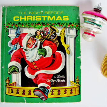 Vintage Little Golden Book The Night Before Christmas 1949 First Edition Corinne Malvern Illustrations Holiday Decor