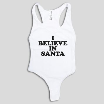 I Believe in Santa Bodysuit - Black