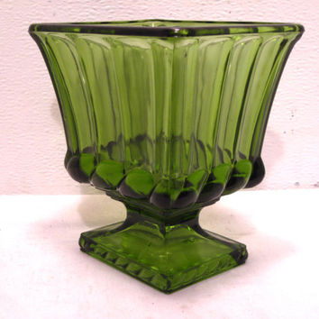 Green, Glass, Heavy, Square, Pedestal, Planter, Compote, Dish, Decor, Scalloped, Planter, Mid Century, Trinket, Bathroom, Candy, Dish, Gift