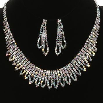 Aurore Boreale Aurora Rhinestone Metal Choker Necklace And Earring Set