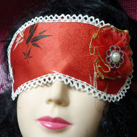 Sleeping Mask, Oriental Print Bamboo Design with Lace Trim