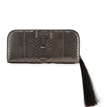 TOM FORD T-Lock Medium Python Clutch Bag with Ruthenium-Tone Hardware