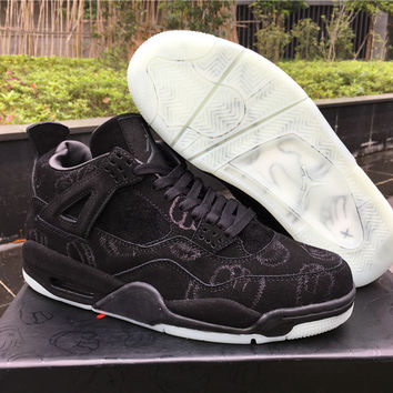 "KAWS x Air Jordan 4 ""Black suede"" Unisex Basketball Shoes"
