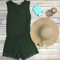 Simply Stated Romper: Olive