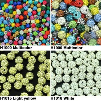 50pcs 10MM DIY Clay Disco Ball Pave Crystal Shamballa Beads for Jewelry LYD