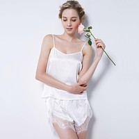 Women's Pure Mulberry Silk Pajama Set Sexy Nightwear 100% Silk Nighties nightgown female sleepwear