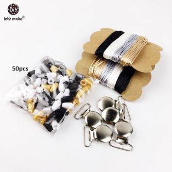 Let's Make Pacifier Clip Set Baby Safty Non-toxic Pacifier Holder Personalized Satin Rope For Babys Tooth Gel Pacifier Clip