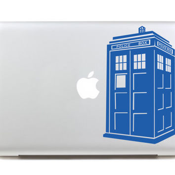 apple decal macbook decal retina decal cover Laptop macbook doctor who decal Vinyl sticker - Tardis - mac decals skin stickers