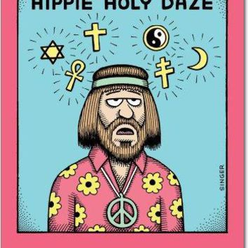 12 Hippie Holy Daze Christmas Cartoon Humor Christmas Greeting Cards, with Envelopes, Greeting Cards