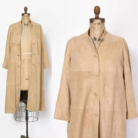 Vintage 60s SUEDE Jacket / 1960s Buttery Soft Tan LEATHER Swing Trench Coat S
