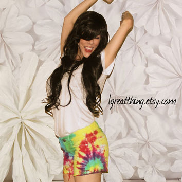 Tie Dye Rainbow Shorts Bright Comfy Frayed and Ready For Fun in the SUN