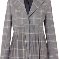 Cédric Charlier - Pleated checked wool-blend blazer