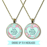 Best Friends 4 Ever Matching Best Friend Jewelry Set - Choose between 2, 3, 4, 5, 6 Best Friend Necklaces for you and your BFF (or BFFs)!