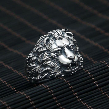 Hot Sale Vintage Lion King domineering ring 925 sterling silver ring for women and men wedding ring 925 fine jewelry fashion GY9
