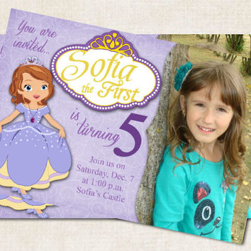 Sofia the First Birthday Party Invitation, princess, Purple, yellow, you print (Digital File)
