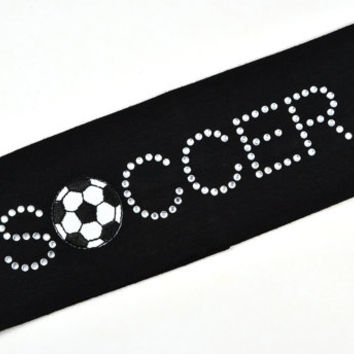 "Custom ""SOCCER BALL"" Rhinestone Studded Stretch Headband"