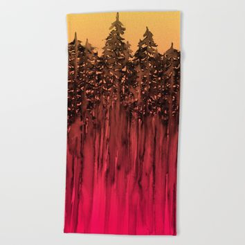 FOREST THROUGH THE TREES 12 Hot Pink Magenta Orange Black Landscape Ombre Abstract Painting Outdoors Beach Towel by EbiEmporium
