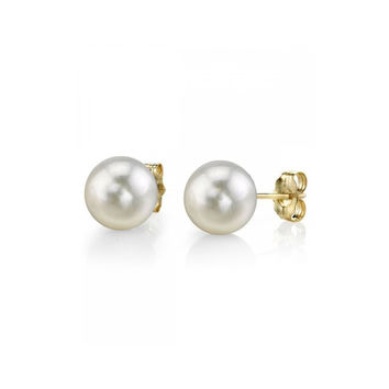 14K Gold White Akoya Cultured Round Pearl Stud Earrings - AAA Quality