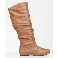 Qupid Neo-144 Vegan Leather Slouchy Almond Toe Mid Calf Slip On Boots