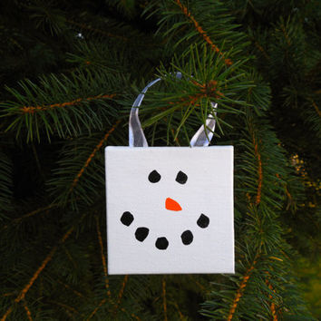 "Painted Snowman Christmas Canvas Ornament 2.5""x2.5""x3/8"" with Ribbon to Hang"
