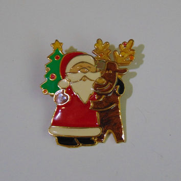 Vintage signed Berebi Santa Reindeer Tree Brooch Pin Lapel