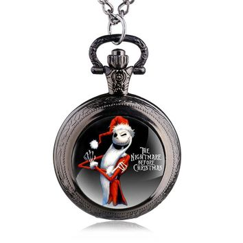 Vintage Three Colors Steampunk Black Nightmare Before Christmas Quartz Pocket Watch Necklace Best Gift DIY Jewelry