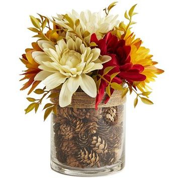 Faux Dahlia & Pinecone Arrangement