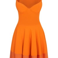 Alexander McQueen | Orange Exposed Bustier Mini-Dress