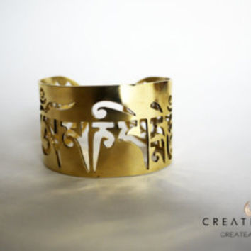 Om Mani Padme Hum- Power in Compassion Bracelet 24k gold plated.