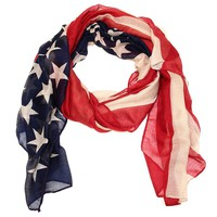 Antique Finish American Flag Rectangle Scarf