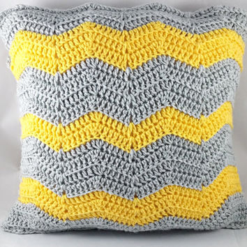Yellow and Gray Pillow Case - Crochet Pillow Case - Pillow Cover - Yellow Pillow - Gray Pillow - Throw Pillow - Decorative Pillow