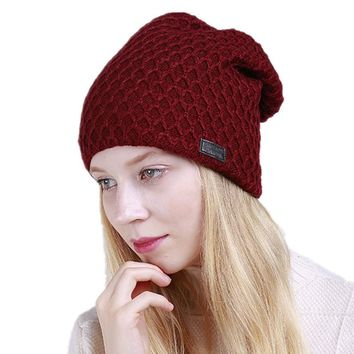 Women Fleece Beanie Cap Slouchy Knitted Beanies Winter Cashmere Hats Ladies Skullies Caps Fashion Knitted Warm Plaid Hat