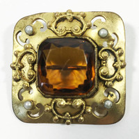 1800s Victorian Gold Tone Amber Glass Brooch with Pearl Accents and Gold Scroll Design, 18th Century Jewelry