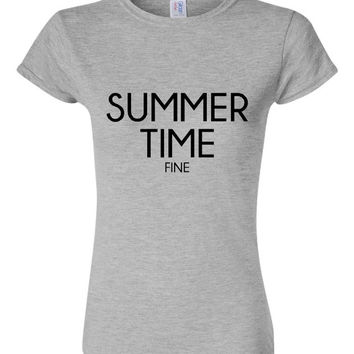 Summer Time Fine Ladies Fashion T-shirt Top Summer Time Top Great Beach Lovers Summer Time T Shirt Fashion