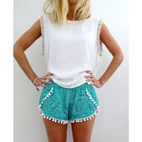 Printed Elastic Waist Pom Decor Shorts