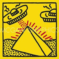 Untitled 1984 pyramid with UFOs Keith Haring Contemporary Pop Art Poster (Choose Size of Print)