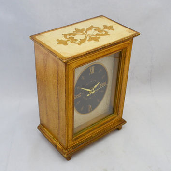 Vintage General Electric Clock, Painted Gold and Cream with Fleur de Lys Design, circa 1950s Mantle Clock, Works