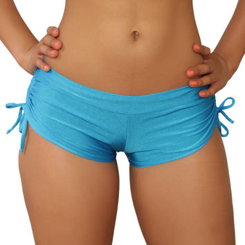 Cheeky Turquoise Tie Side Shorts- Sassy Assy