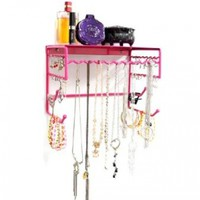 "Pink 10"" Wall Mount Jewelry & Accessory Storage Rack Organizer Shelf for Earrings, Bracelets, Necklaces, & Hair Accessories"