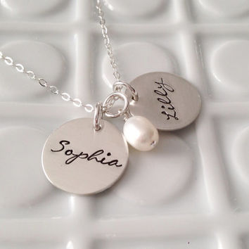 Personalized Mommy Jewelry - - Hand Stamped Name Neckalce - - Sterling Silver